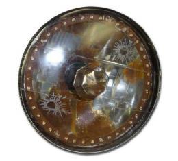 Chevy 7 Inch Round White Diamond Rat Rod Headlights With White LED Halo, 1955-1957
