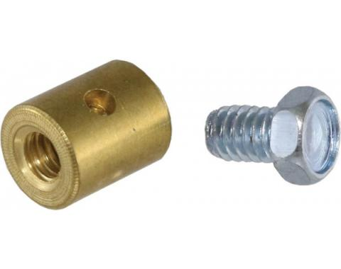 Corvette Hood/Deck Cable Stop, Brass with Screw, 1963-1982