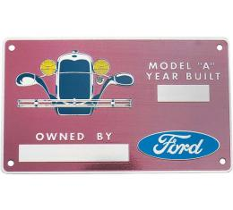 Model A Ford Owners Plate - Personalized - Engravable