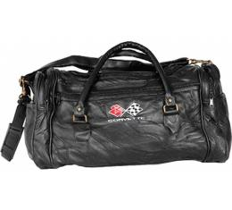 Corvette Leather Road Trip Bag With C3 Embroidered Emblem
