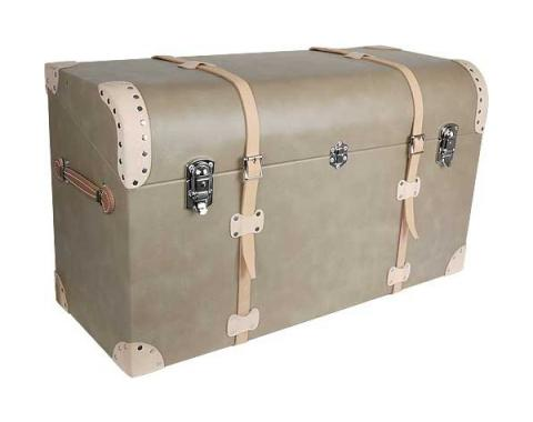 Model A Ford Trunk - Tan Vinyl - Russet Leather Trim & Straps - Tapered Back