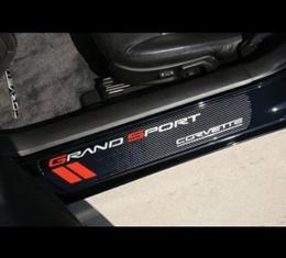 Corvette Door Sill Plates, With Grand Sport Logos, Carbon Fiber, 2010-2013