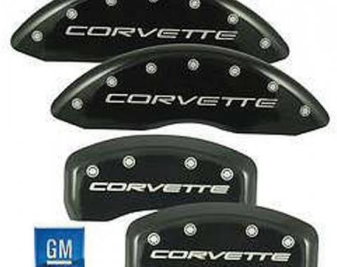 Corvette Brake Caliper Covers, MGP, Black, With Logo, Z06 &Grand Sport, 2006-2013