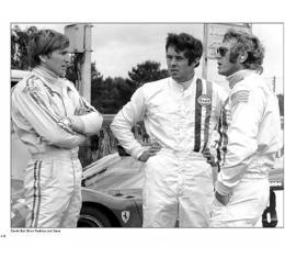 """Steve McQueen / Derek Bell/ Brian Redman - 1970 Le Mans """"Behind LeMans"""" Reprint Poster"""