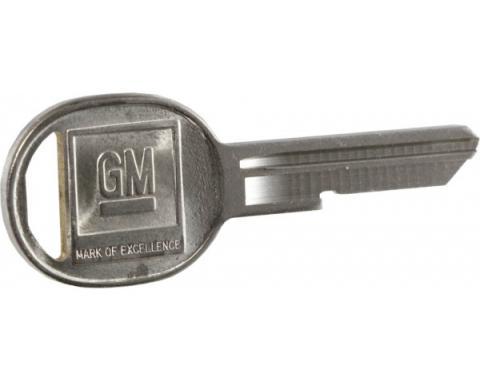 Corvette Door Key Blank, Oval, Coded B, 1967, 1971, 1975, 1979 & 1984-1996