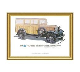 Print - 1932 Ford Station Wagon (B150) - 12 X 18 - Framed