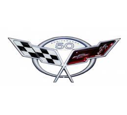 "Corvette C5 50th Anniversary Metal Sign, 18"" X 8"""