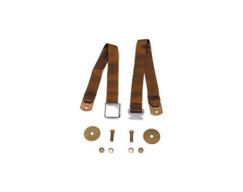 "Seatbelt Solutions Chevrolet 1955-1957, Rear Universal Lap Belt, 60"" with Chrome Lift Latch 1800603004 | Brown"