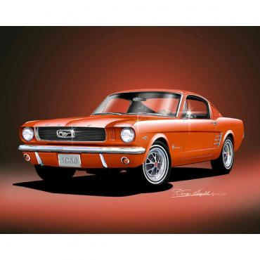 Mustang Fastback 2+2 Fine Art Print By Danny Whitfield, 1966