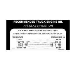 Ford Pickup Truck Glove Box Oil Pressure Decal