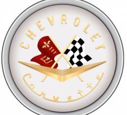 Corvette Decal, Crossed Flags, 1956-1957