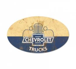 Chevy Truck Metal Sign, ''Chevrolet Trucks'', Oval