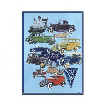 Poster - Depicts Classic Fords From 1934 - 27 X 36