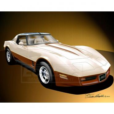 Corvette Fine Art Print By Danny Whitfield, 14x18, StingrayCoupe, Frost Beige and Dark Bronze, 1981