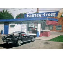 Corvette The Tastee Freez, Fine Art Print By Dana Forrester, 11x17