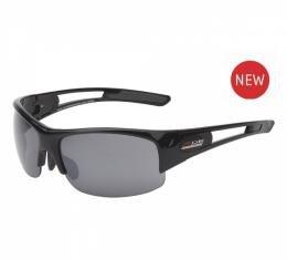 Corvette Eyewear® C7 Z06 Rx Capable Rimless Sunglasses, Gloss Black, Smoke Flash Mirror & Copper Driver Lens