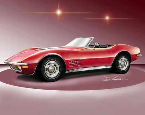 Corvette Fine Art Print By Danny Whitfield, 14x18, StingrayRoadster, Monza Red, 1971
