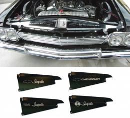Full Size Chevy Core Support Filler Panels, Polished, With Logo/Design, 1964