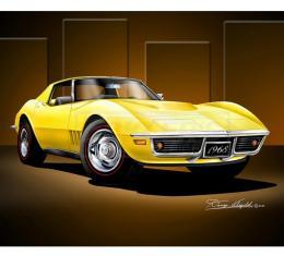 Corvette Fine Art Print By Danny Whitfield, 20x24, StingrayCoupe, Daytona Yellow, 1968
