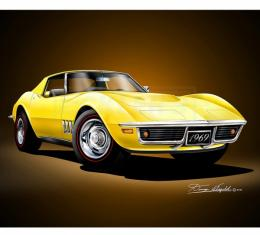 Corvette Fine Art Print By Danny Whitfield, 20x24, 427 Stingray Coupe, Daytona Yellow, 1969