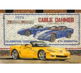 Corvette Screaming Yellow, Fine Art Print By Dana Forrester, 11x17