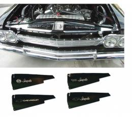 Full Size Chevy Core Support Filler Panels, Polished, With Logo/Design, 1963