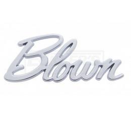 """Firebird """"Blown"""" Script Emblem, Chrome, 1967-2002"""