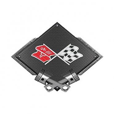"Corvette C3 Crossed Flags Emblem Metal Sign, Black Carbon Fiber, Crossed Pistons, 25"" X 19"""