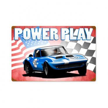 Corvette 1963 Grand Sport Metal Sign, Power Play, 18x12
