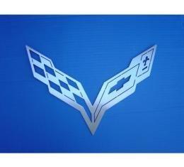 "Corvette Stingray Crossed Flags Stainless Steel Sign, 36"""