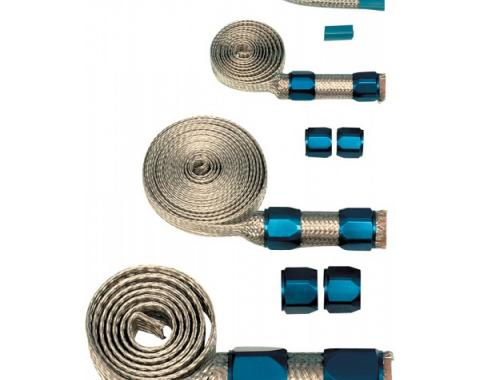 Camaro Universal Hose Cover Kit, Stainless Steel, With Blue Clamps, 1970-2002