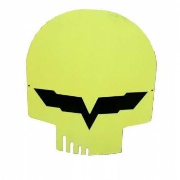 "Corvette Jake Metal Magnet, Yellow Head Skull, 4"" X 3"""