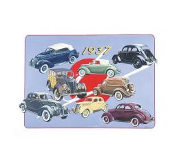 Poster - Depicts Classic Fords From 1937 - 27 X 36
