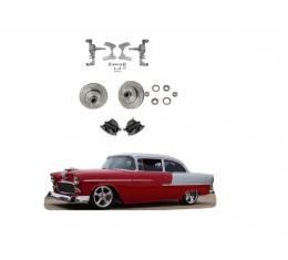 """Chevy 2"""" Drop Spindles With Drilled & Slotted Rotors & Large GM Calipers, 1955-1957"""