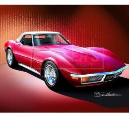 Corvette Fine Art Print By Danny Whitfield, 14x18, StingrayRoadster, Spring Rose, 1972