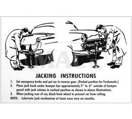 Jack Decal - Jack Instruction Tag - Ford