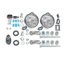 Driving Lamp - 6 Volt - Chrome - Clear Lens - Ford Script