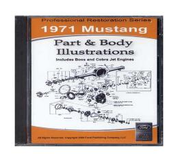 1971 Mustang Part & Body Illustrations On CD - For Windows Operating Systems Only