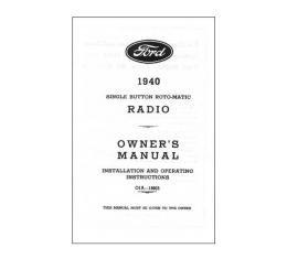 Radio Installation Handbook - Zenith - 8 Pages - Ford & Mercury