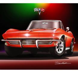 Corvette Fine Art Print By Danny Whitfield, 16x20, Stingray Roadster, 1965