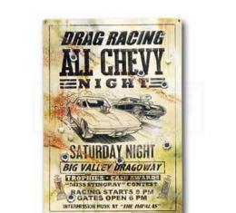 Drag Racing All Chevy Night, Saturday Night, Metal Poster