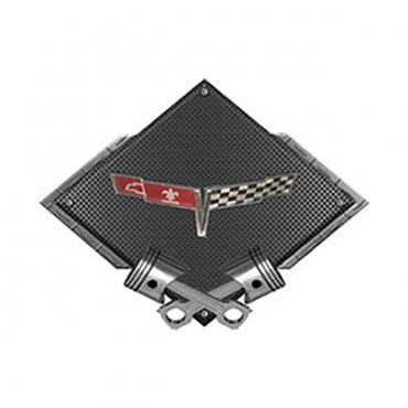 "Corvette C3 1980 Emblem Metal Sign, Black Carbon Fiber, Crossed Pistons, 25"" X 19"""