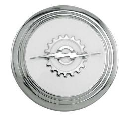Ford Pickup Truck Horn Button - Stainless Steel - Background Painted White - Standard Cab