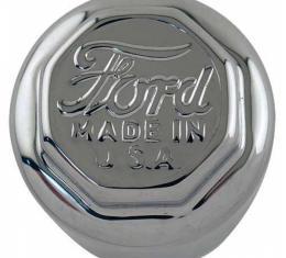 Model T Ford Hub Cap For Wood Wheels, Chrome, Ford Script, TT Truck Front Wheels