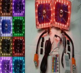 "El Camino Headlight 6"" Rectangle White Diamond With Multi-Color LED Halo, 1982-1987"