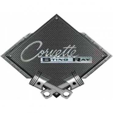"Corvette 1963-1965 Stingray Emblem Metal Sign, Black CarbonFiber, Crossed Pistons, 25"" X 19"""