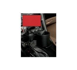Corvette One-Drink Holder, Console, Carbon Fiber Red Vinyl,Plug & Chug, 1997-2004