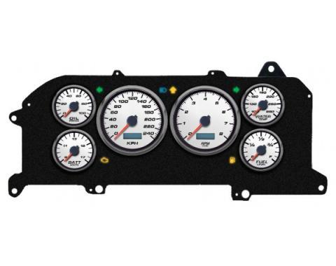Mustang - New Vintage USA Performance ll Series Kit - 6 Gauge Package, White Dial - 1987-1993 - Programmmable Speedometer KPH