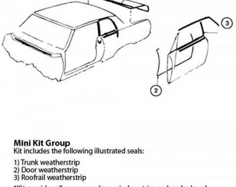 Nova Weatherstrip Mini Kit, 2-Door Hardtop, 1962-1964