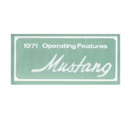 Mustang Owner's Manual - 30 Pages